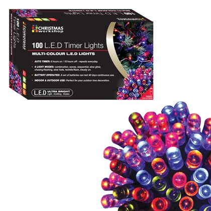 100 LED Battery Op Timer Lights - Multi Colour