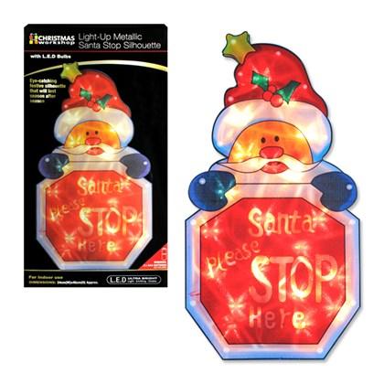 B/O Santa Stop Silhouette  Window Light W/Timer