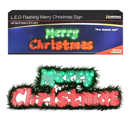40 LED Flashing Red & Green Xmas Sign