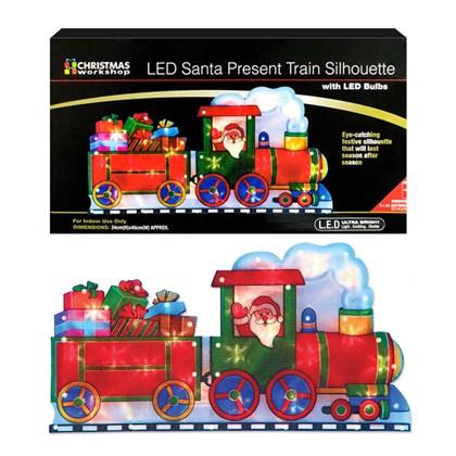 B/O Santa on Train Silhouette Window Light W/Timer