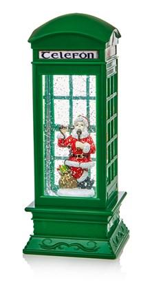 Green Telephone Box With Santa & Reindeer