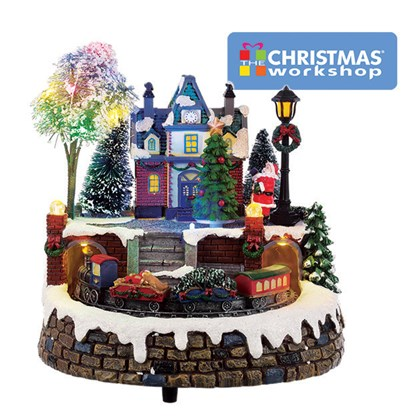 Animated Musical LED Village moving Train&Tree