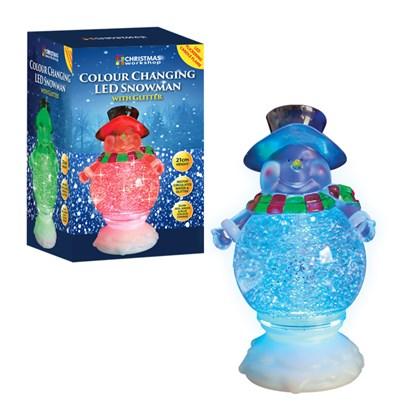 21cm LED Colour Changing Water Snowman