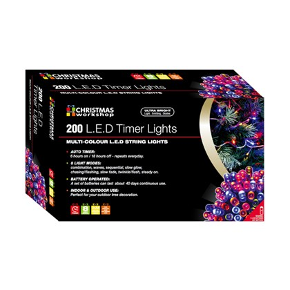 200 LED Battery Operated Time Light - Multi Colour