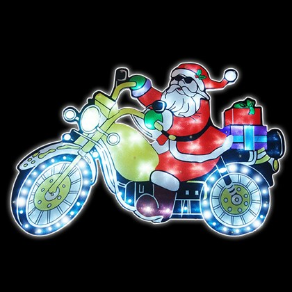 Santa-Bike Moving Silhouette