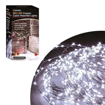 600 LED Black Copper Cable Waterfall Lights- White