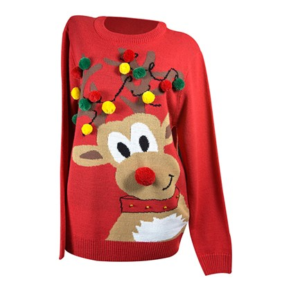 Crew Neck Knitted Man Jumper W/Reindeer Graphic