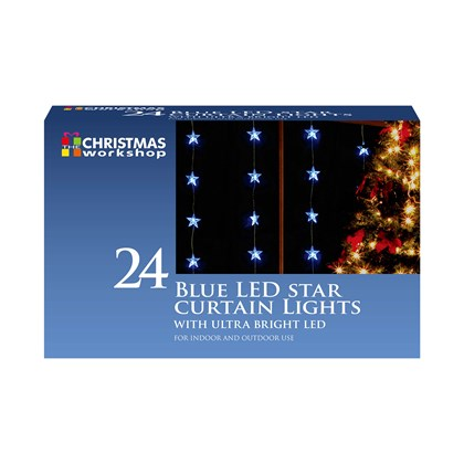 24 LED Star Curtain Lights - Blue