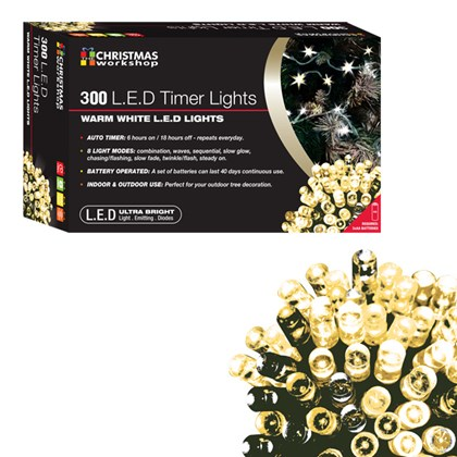 300 LED Battery Operated Timer Light - Warm White