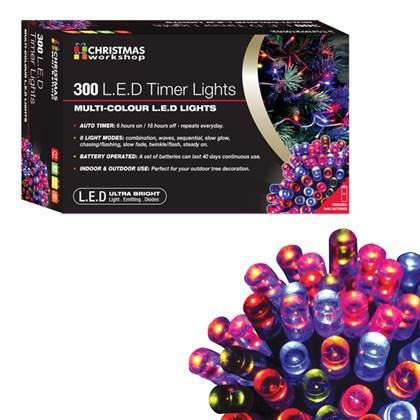 300 LED Battery Operated Timer Light - Multi Colou