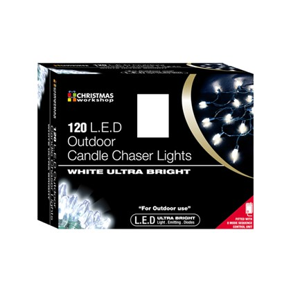 120 LED Clear Outdoor Candle Chaser Light