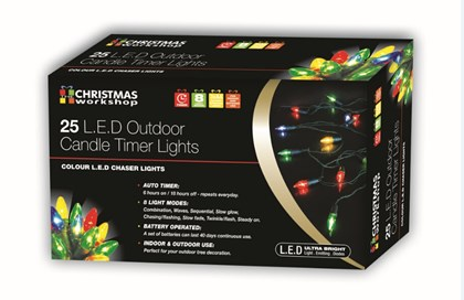 25 LED Outdoor Candle Timer Chaser-Multi Col