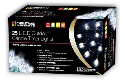 25 LED Outdoor B/O Candle Timer Chaser - White