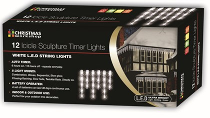 12 LED Icicle Timer Lights - White