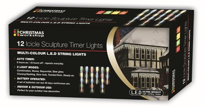 12 LED Icicle Timer Chaser Lights-Multi Coloured