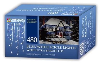 480 LED Icicle Chaser Lights -Blue & White