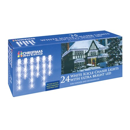 24 LED Icicle Chaser Lights - White