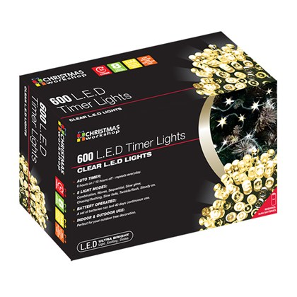 600 LED Battery operated Timer Light - Warm White