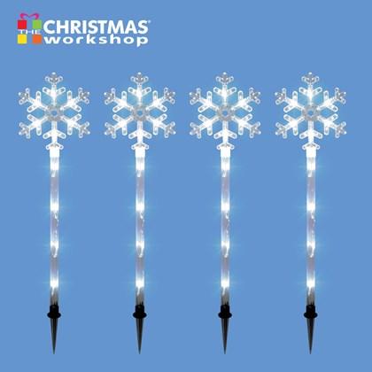4PC 40LED Snowflake Stake Light - White