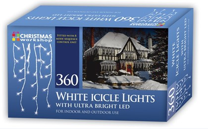 360 LED Icicle Chaser Lights - White