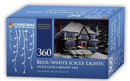360 LED Icicle Chaser Lights - Blue & White