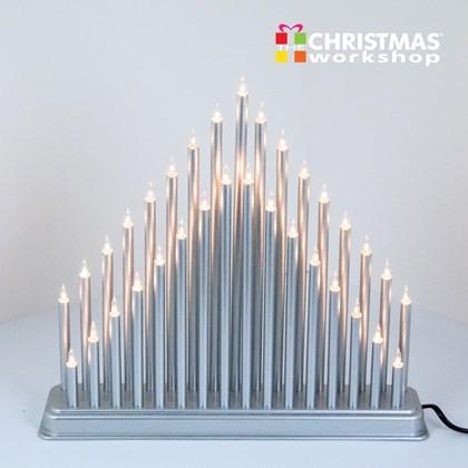33 White Fairy Light Silver Candle Bridge