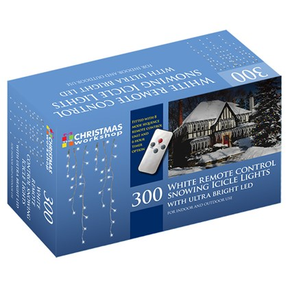 300 LED Remote Control Snow Icicle Lights - White