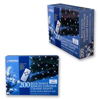 200 LED R/C Chaser Lights W/ Timer - Blue & White