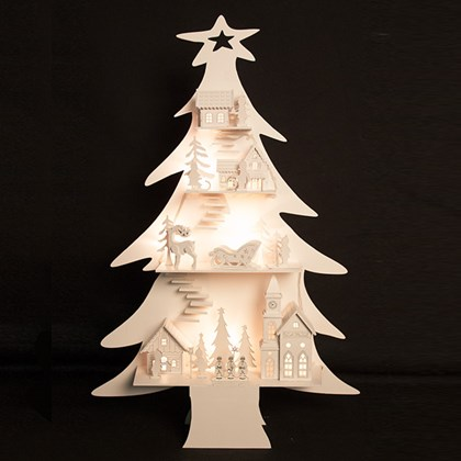 Wooden LED City In Tree