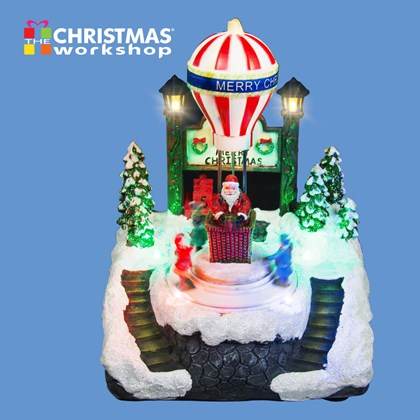 LED Christmas Scene With Revolving Kids
