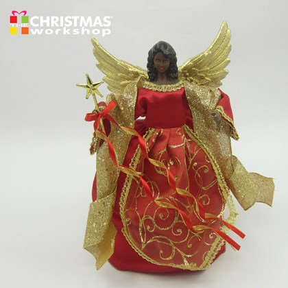 """12"""" Red Tree Top Angel"""