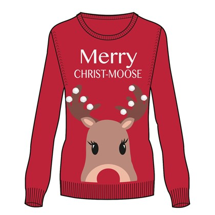 Ladies 3D XMas Moose Jumper