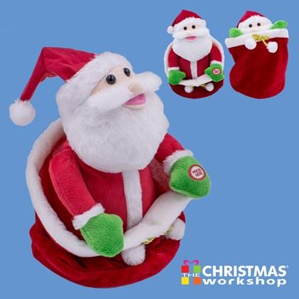 Hiding Plush Santa In Giftbag