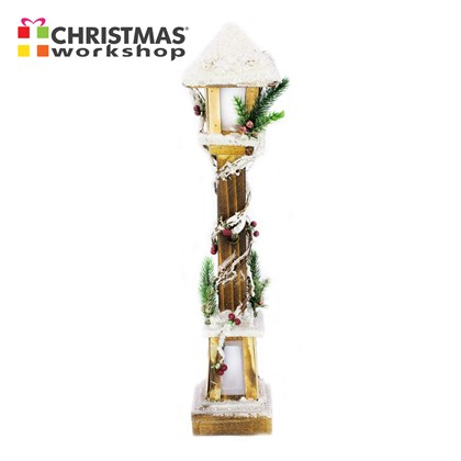 60cm LED Snow Tipped Wood Lamp Post