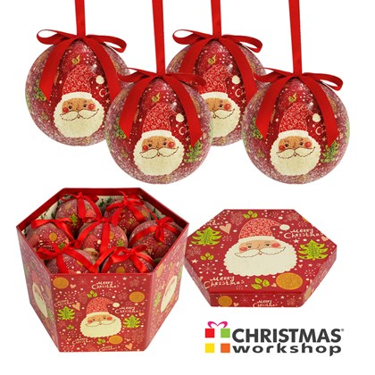 14pc Frosted Cartoon Santa Bauble