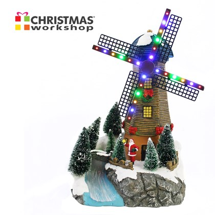 LED Windmill With Fibre Optic River