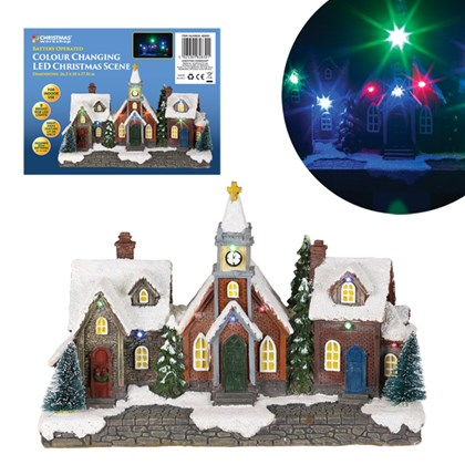 9 LED Snowy Village Scene, Battery Operated