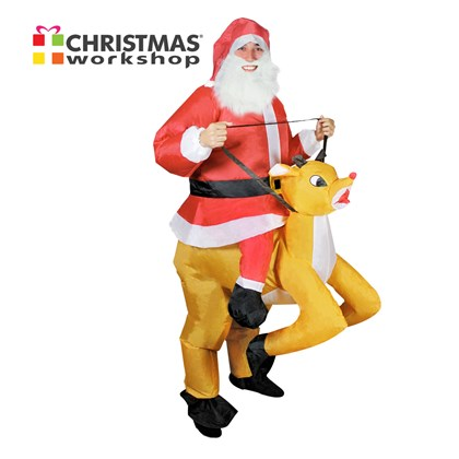 Inflatable Adult Santa Riding Deer Costume