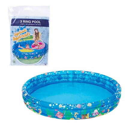 Inflatable 3-Ring Sea World Paddling Pool