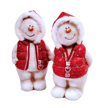 2 Asst Med Snowmen W/Red Jacket