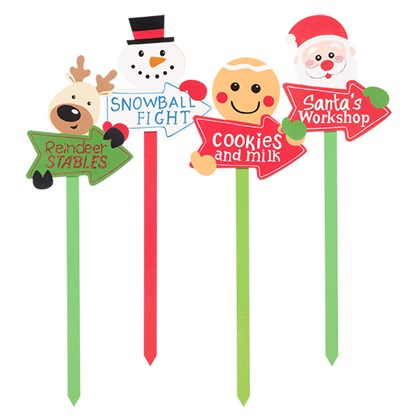 4 Assorted Christmas Stakes