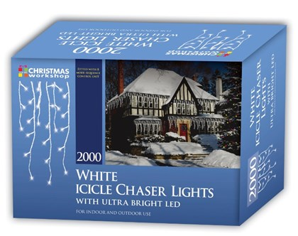 2000 LED Icicle Chaser Lights - White