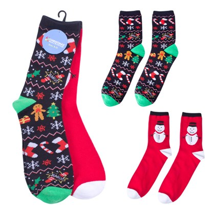 Mens Xmas Pack of 2 Assorted Socks