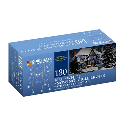 180 LED Snowing Icicle Lights- Blue & White