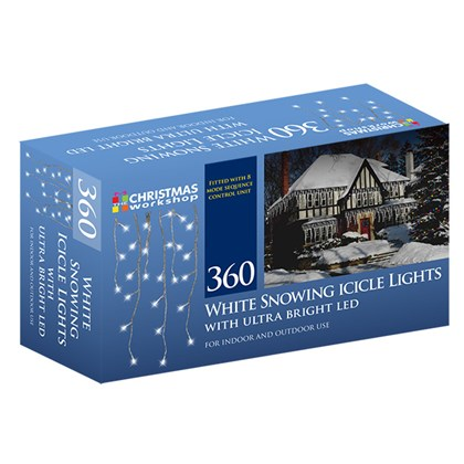 360 LED Snowing Icicle Lights - Cool White