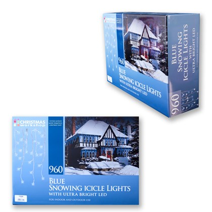 960 LED Snowing Icicle Lights - Blue