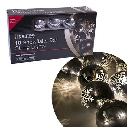 10 LED 6.5cm Snowflake Bauble Lights - W.White