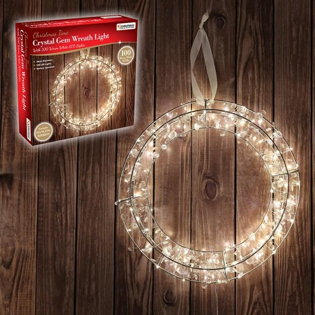 B/O 38CM 100LED Warm White Circle Wreath W/Gems