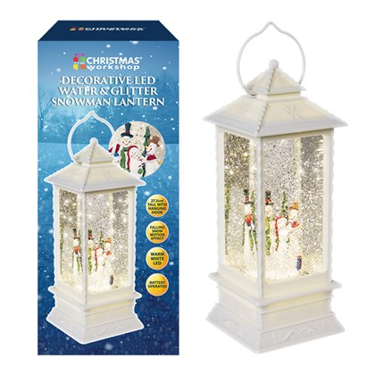 LED Water & Glitter Snowman Lantern - White