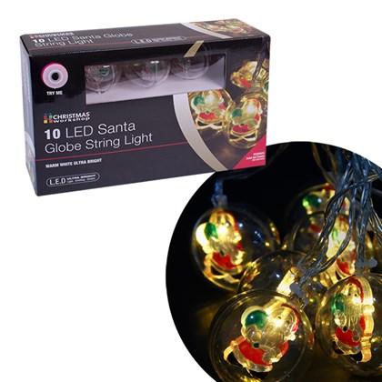 10 LED Santa Bauble String Lights- W.White